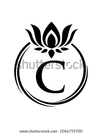 Lotus Flower Initial Logo Icon Vector Stock Vector Royalty Free