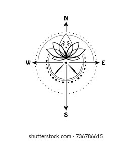 Lotus flower inside compass vector illustration sacred geometry symbol of wisdom, love, travel and enlightenment can be used for tattoo, t-shirt print, design idea or adult coloring book