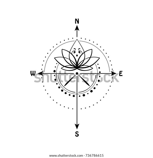 Lotus Flower Inside Compass Vector Illustration Stock Vector