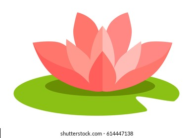 Lotus flower isolated in flat design on white. Vector illustration of pink blossom on green grass that grows on water surface such as rivers. Colorful icon of lotus flower considered to be sacred