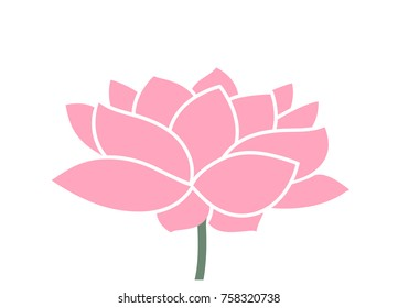 Lotus flower. Isolated lotus on white background. EPS 10. Vector illustration