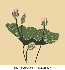 Lotus flower with leaf and two buds isolated vector design. Botanical composition on vintage paper