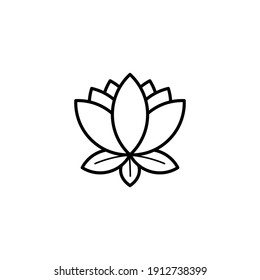 Lotus Flower Line Icon - Chinese Lunar New Year Icon - Black Outline Icon