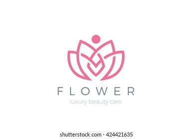 Lotus Flower Logo abstract Beauty Spa salon Cosmetics brand Linear style. Looped Leaves Logotype design vector Luxury Fashion template.