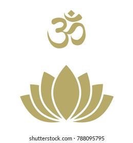 lotus flower logo with OM sign