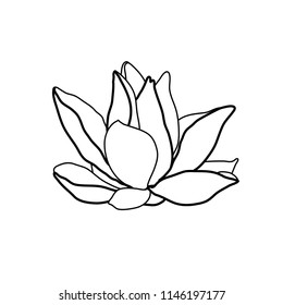 Lotus flower logo. Water lily hand drawing. Black and white floral silhouette. Vector illustration isolated on white.
