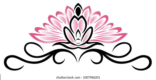 Lotus flower with with meditating person in the middle. Yoga.