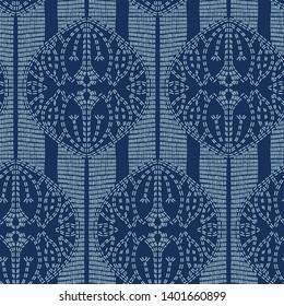 Lotus flower motif sashiko style. Japanese needlework seamless vector pattern. Hand stitched indigo blue lines textile print. Classic japan decor, asian fusion embroidery. Kimono quilting template.