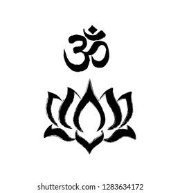Lotus flower with OM symbol, logo icon
