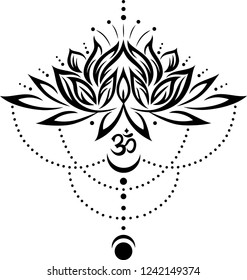 Lotus flower with om symbol and moon.