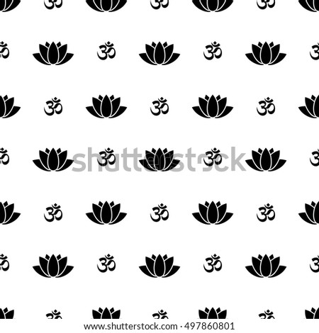Lotus flower om symbol seamless pattern stock vector royalty free lotus flower and om symbol seamless pattern mightylinksfo