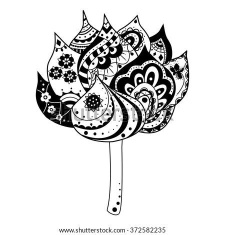 Lotus flower ornamental indian elements symbols stock vector lotus flower with ornamental indian elements and symbols boho style illustration vector monochrome hand mightylinksfo