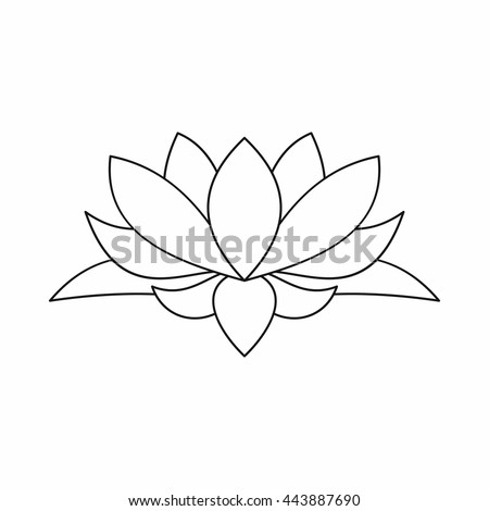 Lotus Flower Outline Icon Illustration Lotus Stock Vector Royalty