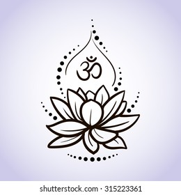 Lotus flower pattern line on isolated background. Logo for Yoga Studio, Spa, India style. Vector illustration