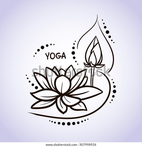 Lotus flower pattern line on isolated background. Logo for Yoga Studio, Spa, India style. Vector illustration