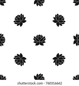 Lotus flower pattern repeat seamless in black color for any design. Vector geometric illustration