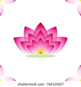 Lotus Flower pink profile on a white background, geometric pattern, vector.