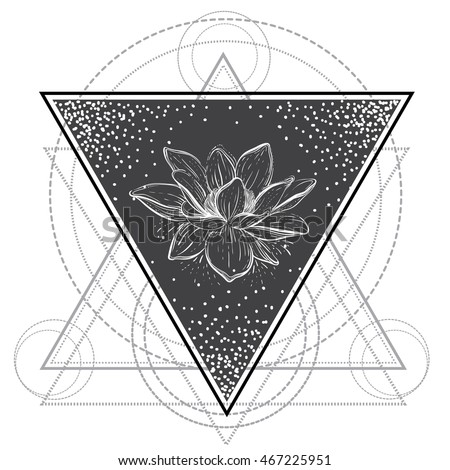 Lotus flower sacred geometry blackwork tattoo stock vector royalty lotus flower sacred geometry blackwork tattoo flash vector illustration isolated on white mightylinksfo