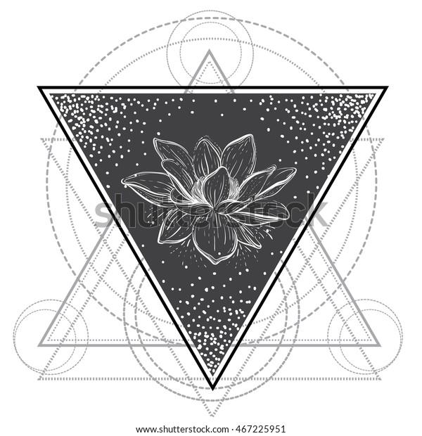 Lotus Flower Sacred Geometry Blackwork Tattoo Stock Vector Royalty