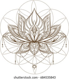 Lotus flower . Sacred geometry.  Vector illustration isolated on white.