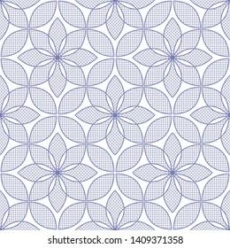 Lotus flower seamless pattern. Flowers with lace petals. Floral trellis. Oriental decorative ornament. Monochrome delicate motif. Vector illustration