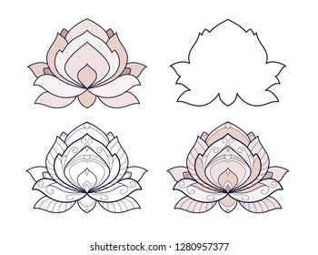 Lotus flower set vector illustration is isolated on a white background. Symmetric decorative element with east motives for design