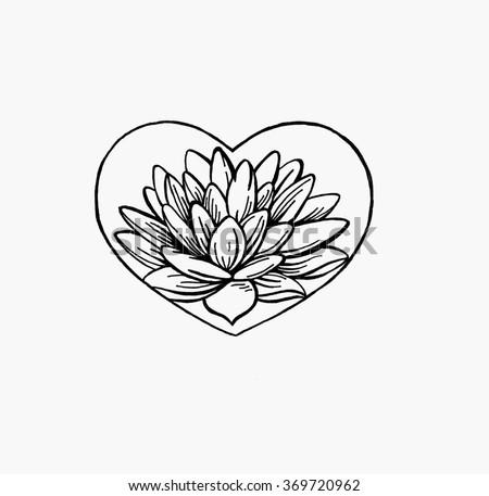 Lotus Flower Shape Heart Vector Lotus Stock Vector Royalty Free