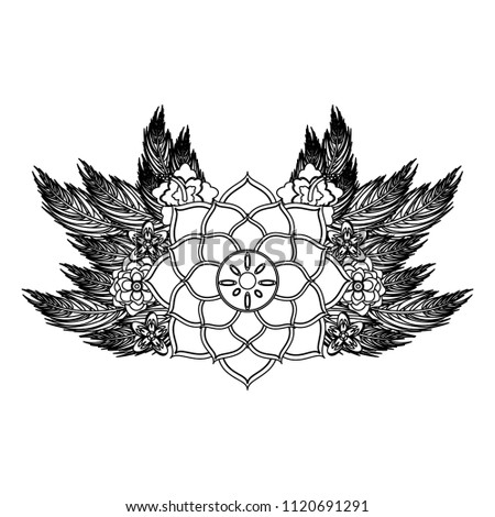 Lotus Flower Symbol Black White Stock Vector Royalty Free