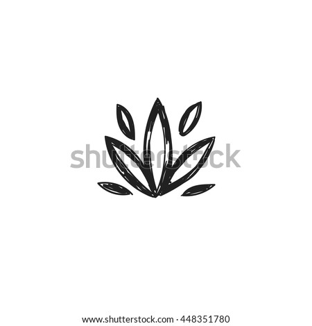 Lotus flower symbol vector handsketched illustration stock vector lotus flower symbol vector hand sketched illustration yoga design and advertising spiritual mightylinksfo