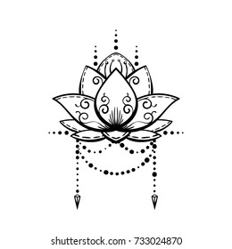 Lotus flower tattoo hand drawn isolated vector magic symbol design element
