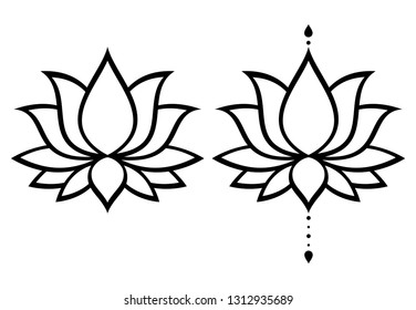 Lotus flower vector design set, Yoga or zen decorative background - boho style.  Lotus or water lilly shapes, graphic elements in black on white background, Indian modern decoration