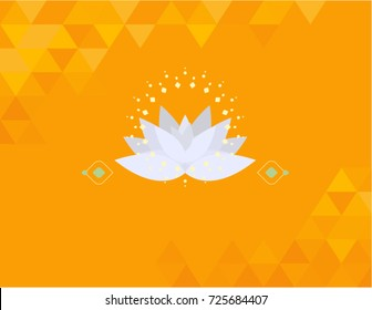 Lotus flower vector illustration, isolated on orange background.  Abstract geometric bright pattern on corners. Buddhism symbol, good energy design, perfect as motivational wallpaper.