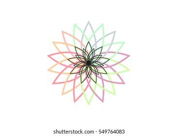 Lotus flower vector illustration, logo or icon element isolated, radial geometric shapes, minimal mandala. Explosion of rainbow colors.