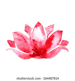 lotus flower watercolor art vector illustration yoga or spa concept