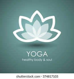 Lotus Flower Yoga symbol template. Logo design idea