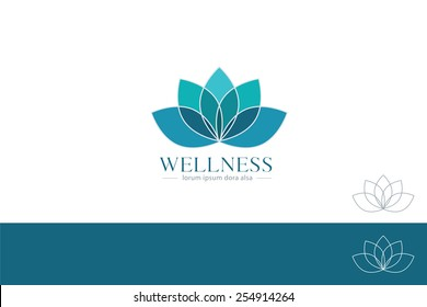Lotus Flower Yoga Wellness Concept Design Element