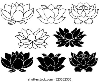 Lotus flowers black and white silhouettes. Set of three vector hand drawn illustrations.