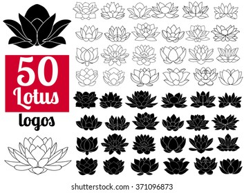 Lotus flowers black and white silhouettes, flat icons. Set 50 fifty vector hand drawn lotos flower logo illustrations isolated on white background