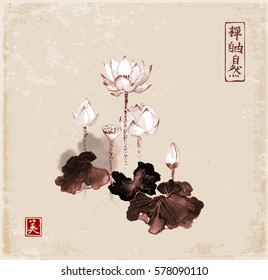 Lotus flowers hand drawn with ink on vintage background. Contains hieroglyphs - zen, freedom, nature, beauty.Traditional Japanese ink painting sumi-e