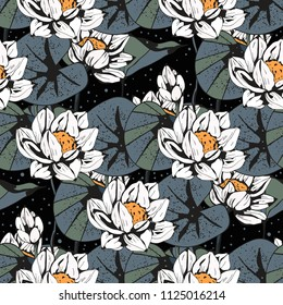 Lotus flowers, leaves seamless pattern. Floral background. Botanical print. Fabric design