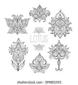 Lotus flowers set. Indian floral ornament can be used as a greeting card, coloring page, logo, tattoo design in boho, tribal style. Hand drawn vector illustration