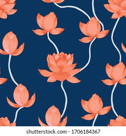 Lotus flowers vector seamless pattern