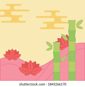 lotus flwoers and bamboo oriental element decoration vector illustration color design