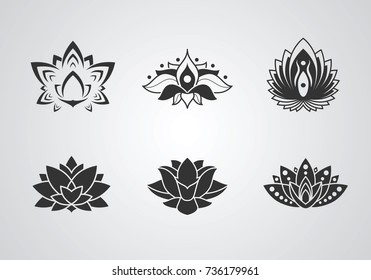 Lotus glyph icons set. Inspiration graphic sign for logo. Vector illustration