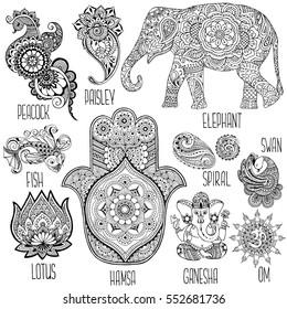 Lotus, hamsa, elephant, Ganesha and other symbols used in mihendi.
