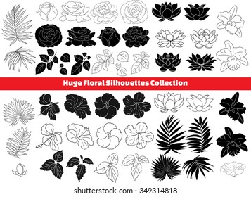 lotus, hibiscus, rose, orchid, palm, leaf isolated silhouettes collection