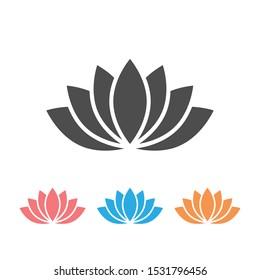 Lotus icon or Harmony icon set on white. Vector
