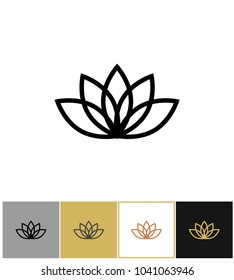 Lotus icon line style, lotos calm and harmony pictogram on gold, black and white backgrounds vector illustration