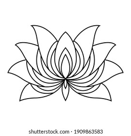 Lotus icon. Monochrome blooming flower. Hand drawn lotos flower illustration isolated on white background. Black linear petals of plant in coloring style