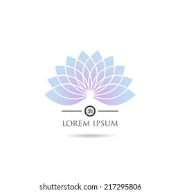 Lotus icon with om symbol for wellness, yoga and spa.